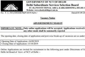 DSSSB Recruitment 2019: 982 vacancies for Assistant Teacher and JE civil announced