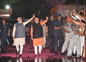 Prime Minister Narendra Modi and home minister Amit Shah in New Delhi, May 23, 2019