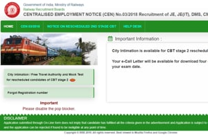 RRB JE 2019 CBT 2: City intimation, travel pass, mock test link released-Admit card tomorrow