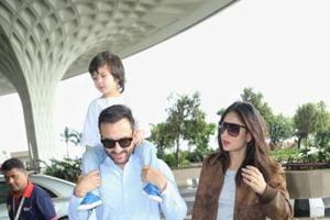 Saif Ali Khan carries son Taimur on his shoulders as they leave for Pataudi to celebrate Kareena Kapoor's birthday
