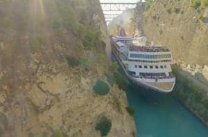 Cruise ship squeezes through tiny canal- Incredible video captured
