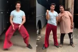 Varun Dhawan takes Akshay Kumar's Bala challenge, but fans can't get over his red pants- Watch