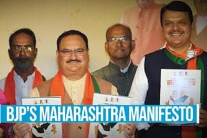 Watch: BJP unveils Maharashtra polls manifesto, promise 5 cr jobs in 5 ...