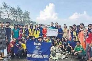 Students take part in beach clean-up drive in Mumbai