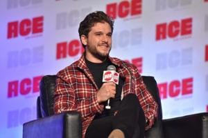 Kit Harington participates during a Q&A panel on day three at the Ace Comic-Con at the Donald E Stephens Convention Center.