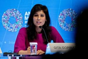 Gita Gopinath, chief economist at the International Monetary Fund (IMF) speaks at a World Economic Outlook news conference  in Washington on Tuesday.