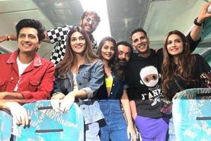 The cast and crew of Housefull 4 onboard a promotional train from Mumbai to Delhi.