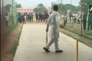 Rahul Gandhi shows his cricketing skills after chopper's emergency landing