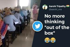 College makes students wear cardboard boxes during exam. Twitter reacts