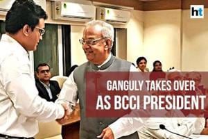 Former Indian cricket captain Sourav Ganguly takes charge as BCCI Presi...