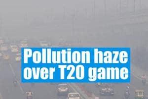 Pollution haze over India vs Bangladesh T20 game in Delhi