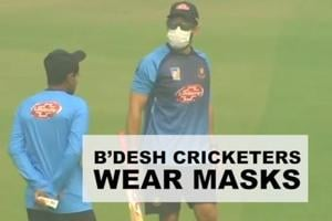 Bangladesh cricketers wear masks during practice ahead of 1st T20I in D...