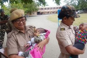 Assam cops hold babies while their mothers take exam, win Twitter