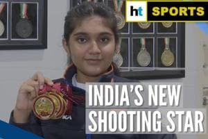 14-yr-old Hyderabad girl wins 3 gold medals at Asian Shooting Champions...