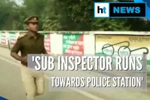 Watch: Etawah Sub Inspector runs towards transferred police station, faints...