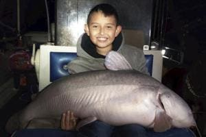 7-year-old boy catches massive blue catfish, names it 'Wailord'- Then does this