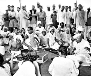 MohandasKaramchand Gandhi and former Prime Minister Jawaharlal Nehru at a Charkha demonstration in New Delhi in April 1946. For Gandhi, the charkha was a symbol of self-reliance