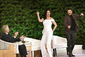 Michael Douglas watches as Catherine Zeta-Jones and Anil Kapoor show off their dance moves at the Hindustan Times Leadership Summit in New Delhi on Saturday.