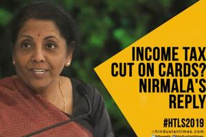 #HTLS2019: FM Nirmala's response on whether govt will cut income tax