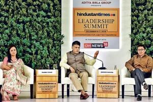 Mahua Moitra, Member of Parliament, Manish Tewari, Member of Parliament, Jamyang Namgyal, Member of Parliament and Sunetra Choudhury, National Political Editor, Hindustan Times during the Hindustan Times Leadership Summit at Taj Palace in New Delhi.