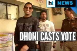 Watch: MS Dhoni casts vote in Ranchi during Jharkhand Assembly Elections