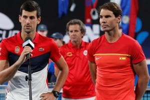 File image of Novak Djokovic (L) with Rafael Nadal.