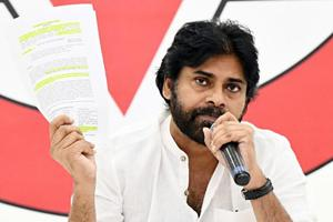 Actor-turned-politician and Jana Sena Party president Pawan Kalyan addressing a press conference, in Andhra Pradesh.