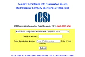 ICSI CS Foundation Result 2019 declared, direct link to download mark sheet here