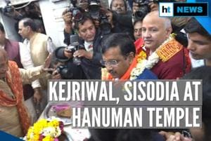 Watch: Arvind Kejriwal, Manish Sisodia visit Hanuman Temple after Delhi...