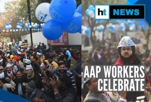 Delhi poll results: Trends show majority for AAP, cadres celebrate