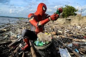 Indonesian man dresses up as Spider-man to clean up trash- Here's why