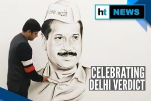 Watch: Artist makes Arvind Kejriwal's portrait after AAP sweeps Delhi p...