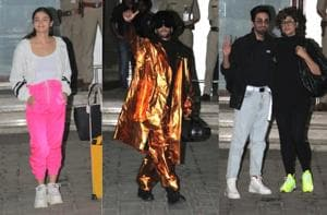 Ranveer Singh walks out of airport with his boombox in style, Alia Bhatt and Ayushmann Khurrana keep it casual