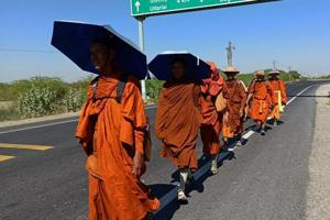 13 Thai Buddhist monks, going to Pakistan, stopped in Rajasthan's Barmer
