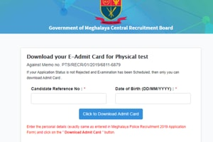 Meghalaya Police PET Admit Card 2020 released, direct link here