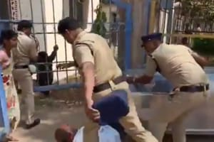 Caught on cam, Telangana cop seen kicking man grieving his dead daughter