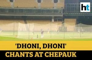 MS Dhoni picks up bat again, practices for IPL with cheering fans on si...