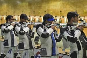 Indian shooters take part in a practice session.