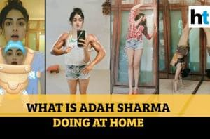 Watch actor Adah Sharma exercising while doing household chores amid lo...