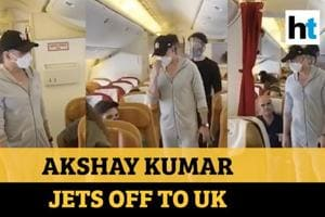 Watch: Akshay Kumar jets off to UK for shooting upcoming film Bell Bott...