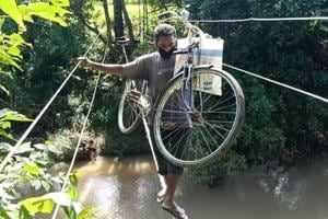 A tightrope walk for river-crossing in Odisha's Kandhamal, video is viral