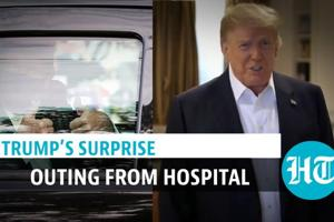 'Surprise Visit…': Donald Trump leaves hospital briefly to greet supporters...