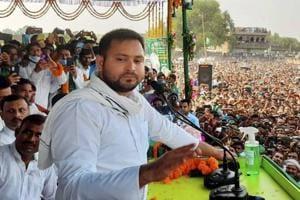 Bihar election 2020: Slippers hurled at Tejashwi Yadav during poll rally in Aurangabad