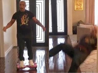 Watch | The moment Mike Tyson falls off his hoverboard