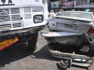 Six injured in Patiala as out-of-control truck rams into eight vehicles