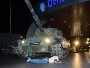Beijing then, Istanbul now: A man stands up against the tanks, again