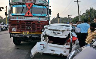 Truck's brakes fail