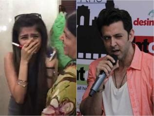 Watch this girl lose it on camera after getting a hug from Hrithik Roshan