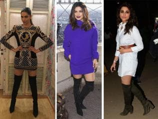 Move over ankle-length boots. Thigh is the limit for these Bollywood divas