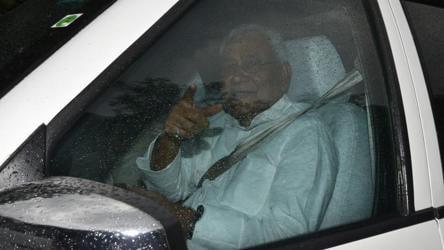 Bihar chief minister Nitish Kumar leaves after meeting Congress vice president Rahul Gandhi in New Delhi.